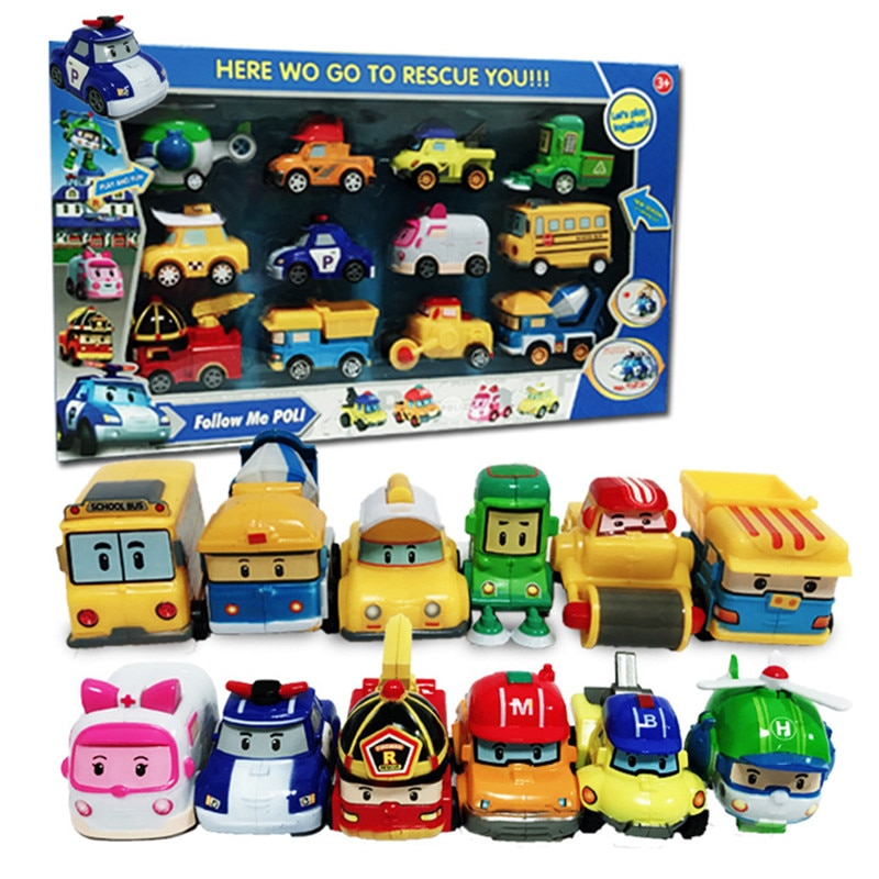 12 unids/caja nueva de Corea Robocar Poli Anime figuras de acción de juguete Robocar Poli Pull Back coche robot en miniatura juguetes para niños mejor regalo