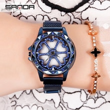 Marke Uhr Frauen Spezielle Design 360 Grad Rotation Diamant Zifferblatt Uhren Mesh Magnet Damen Armbanduhr Quarz Für Frauen Uhr