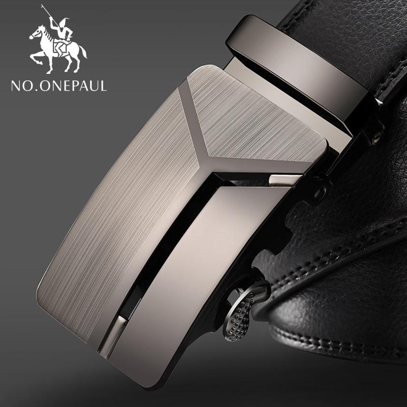 NO.ONEPAUL Men's Business Lengthened Belts, Fashion Men casual Automatic Buckle Minimalist Design Leather Belt Coffee Belts