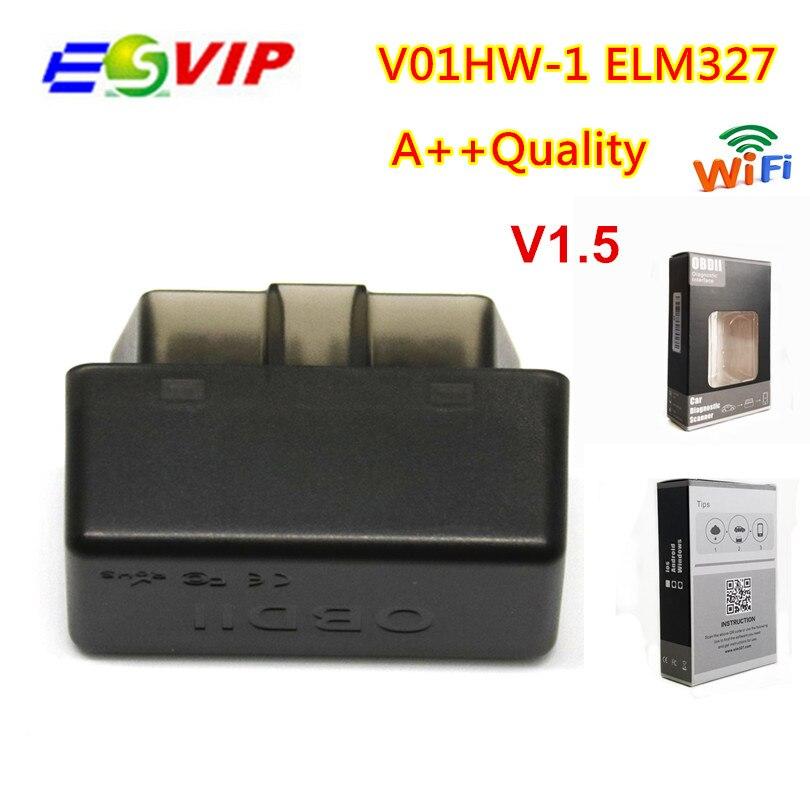 100 piezas ELM327 V01HW-1 WIFI elm 327 V1.5 OBD2 interfaz de Diagnóstico auto escáner herramientas lector de código OBDII para Android/ IOS