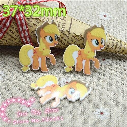 10 unids/lote 37*32mm caballo de dibujos animados pony planar espalda plana estampado de resina