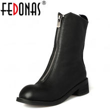 FEDONAS kobiety 100% kożuch połowy łydki buty kobieta gruby obcas buty motocyklowe z prawdziwej skóry kobiety jesień buty zimowe