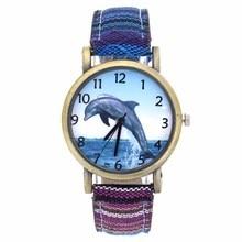 Dolphin Pattern Ocean Aquarium Fish Fashion Casual Men Women Canvas Cloth Strap Sport Analog Quartz
