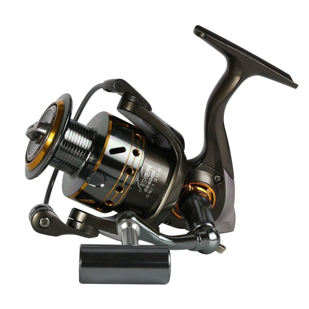 Carrete de pesca completamente de metal, Serie 12 + 1BB 1000-6000, carrete giratorio para alimentador, carrete de pesca con mango de metal, rueda de pesca