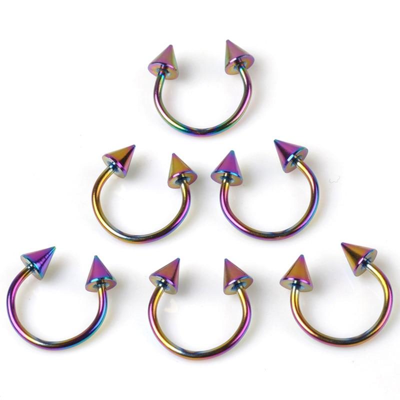 Cone Spike Horseshoe Circular Ring 5pcs Surgical Steel Labret Nipple Hoops Nose Septum Eyebrow Pierc