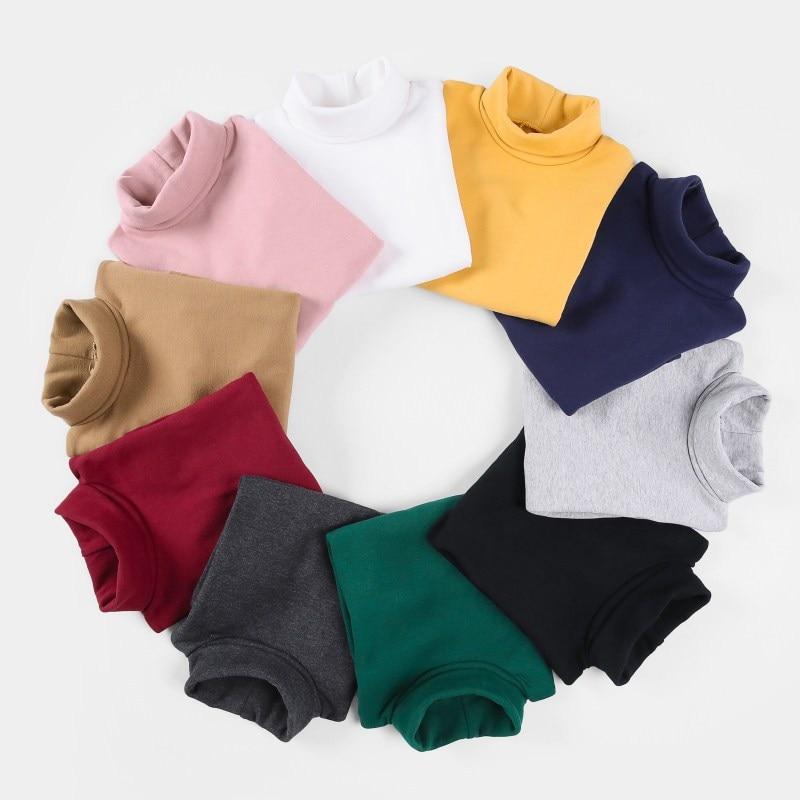 2018 niñas suéteres Color caramelo sólido niños suéteres de Otoño de lana bebé tocando fondo camiseta suéter niños ropa niñas Pullover