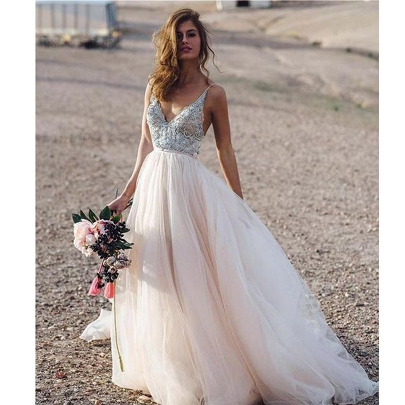Vestido De Novia rosa claro con tirantes finos y apliques De flores,...