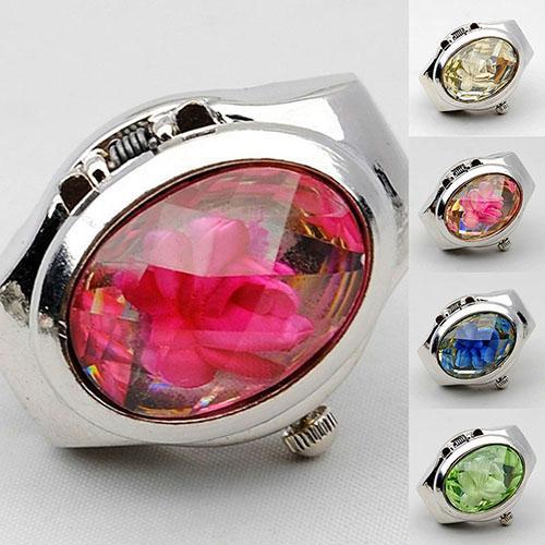 Das mulheres Moda de Luxo Strass Relógio Anel Oval Tampa Mini Relógio de Quartzo