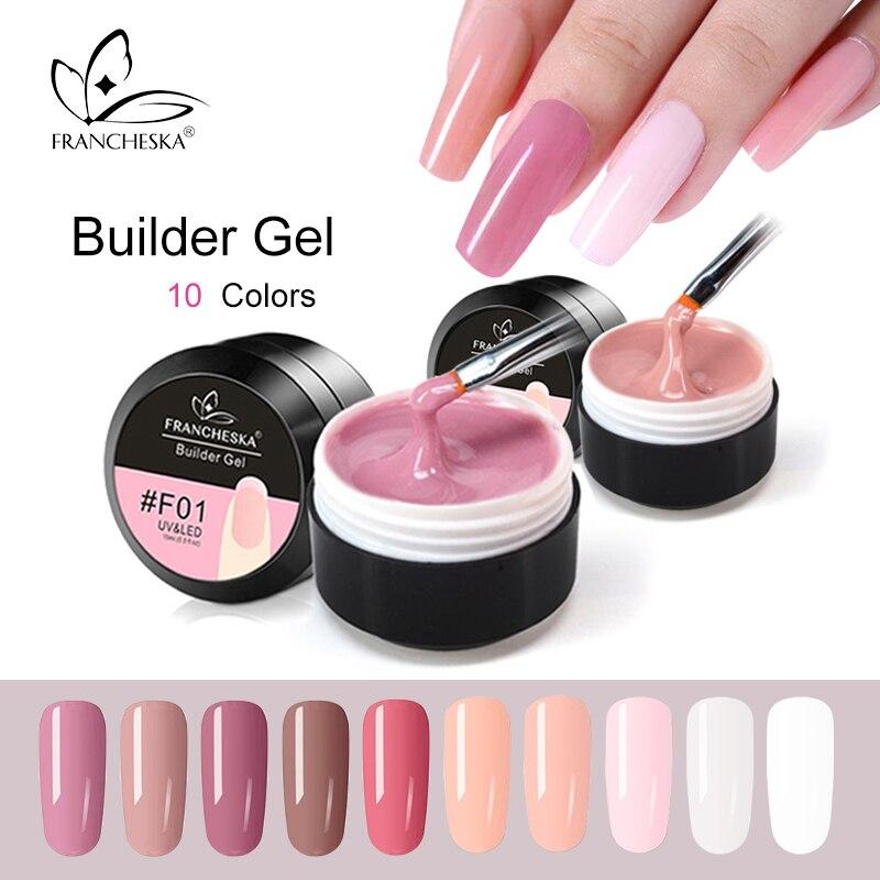 Франшеска камуфляж гель строитель гель быстро уф замочить от наращивания ногтей желе поли 10 цветов прозрачный розовый белый