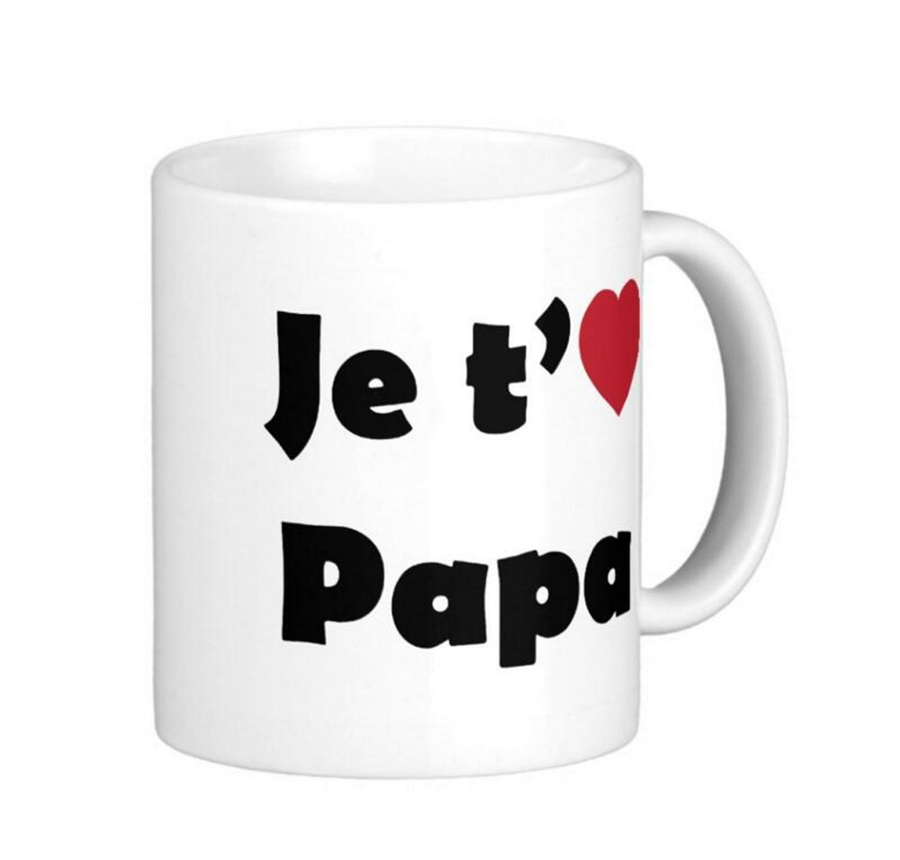 Je taime papa High Quality White Coffee Mugs Tea Mug Customize Gift By LVSURE Ceramic Mug Travel Coffee Mugs