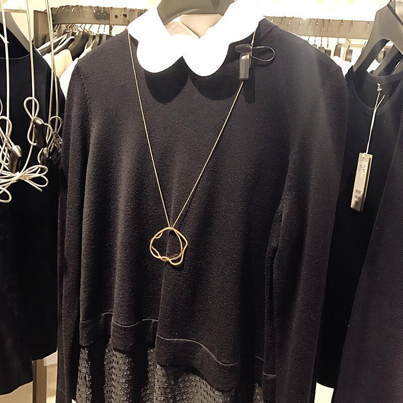 Длинное короткое ожерелье Cos HM H & M, Европейский и американский темперамент, минимализм, розовый золотой шар, свитер cha