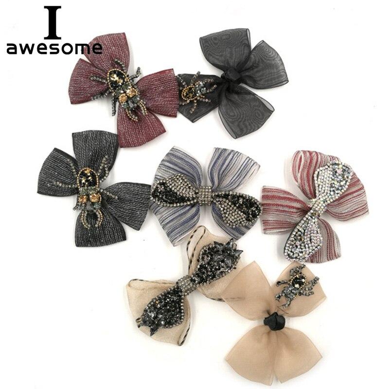 Lazo de cinta de malla para zapatos de boda, zapatos de fiesta de boda, accesorios, Sandalias de tacón alto, botas DIY con diamantes de imitación, decoraciones para zapatos de flores
