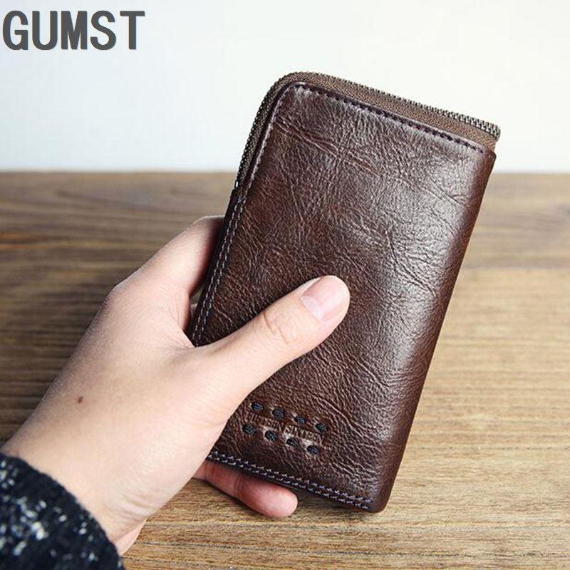 GUMST خمر جلد البقر الحقيقي الرجال الرجال محفظة صغيرة محافظ محفظة سستة عملة جيب الذكور Carteira حامل بطاقات التعريف الشخصية