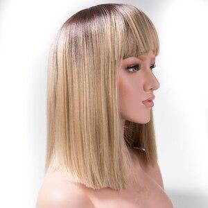 Qp hair 14inch high temperature fiber Synthetic Hair Wigs Yaki Straight Blonde Wig Bangs Short Bob Wigs For Women