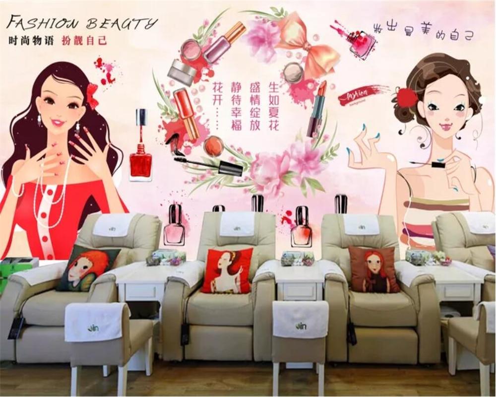 Papel tapiz 3d personalizado, mural grande para decoración de tiendas de uñas, pintura, póster de fondo, papel de pared