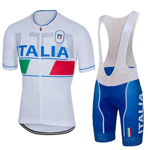 2018 forma radtrikot de weib blau Italia nationalen vestido de ropa de bicicleta carretera berg trikot NOWGONOW gel pad pantalones cortos