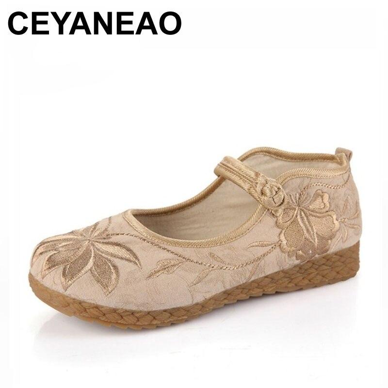 CEYANEAO viejo Beijing suelas planas de tela cómodo Fondo suave retro de mediana edad bordado ocio zapatos de mujer