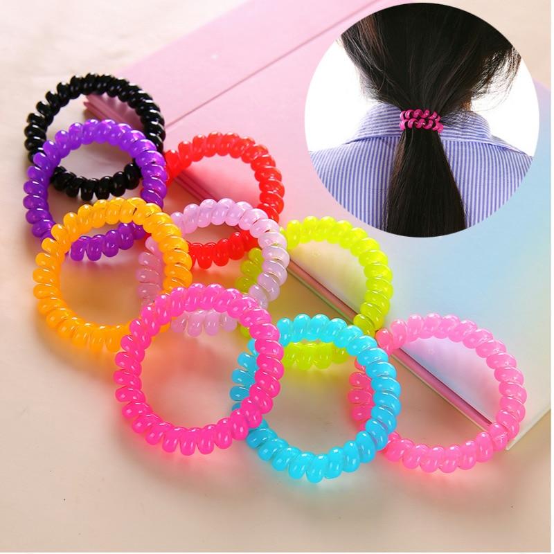 10 unids/lote Mini líneas telefónicas cuerdas de pelo niñas coloridas bandas elásticas para el cabello coleta para niña soporte lazo accesorios para el cabello de goma