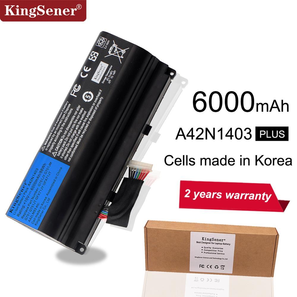 KingSener 15V 6000mAh корейский аккумулятор A42N1403 для ASUS ROG G751 G751JY G751JM G751JT GFX71 GFX71JY GFX71JT A42LM9H A42LM93