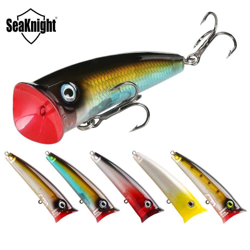 SeaKnight SK004 5 uds. Señuelo de pesca Popper 70mm 11g Topwater Wobbler, señuelo flotante, cebo Artificial para aparejos de pesca de fundición larga