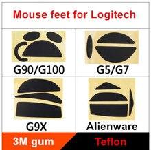 2 jogos/pacote teflon mouse patins pés do mouse para logitech g90/g100 g9/g9x g5/g7 espessura é 0.6mm