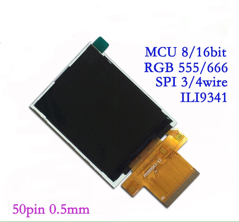 2.8 polegada 50P Tela LCD TFT SPI RGB Unidade IC 240*320 MCU 8 ILI9341/16Bit Interface
