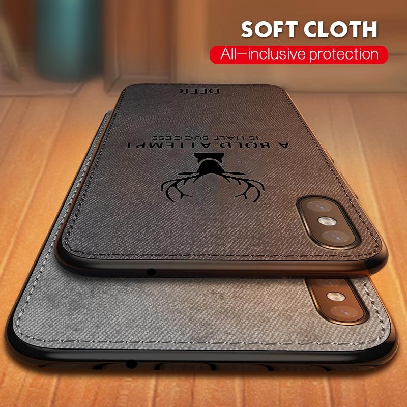 Funda de tela ultradelgada para iPhone XS MAX XR X 8 7 6 6S Plus textura suave TPU 3D ciervo estampado tela patrón Coque bolsa