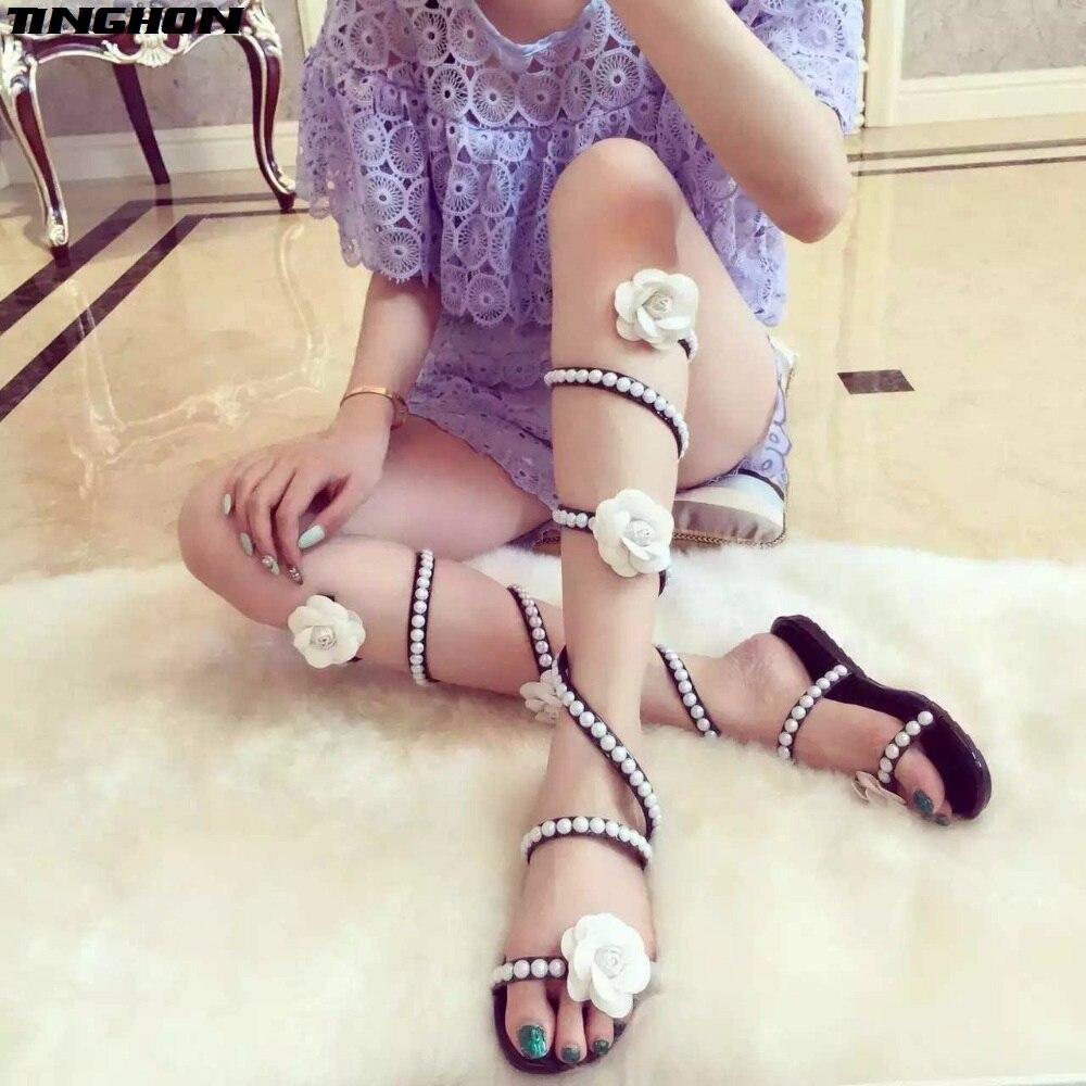 TINGHON, zapatos de verano para mujer, sandalias de cuña plana, tacones altos, correa de serpiente, Punta abierta, perlas, flores, sandalias de gladiador para mujer, zapatos sexis