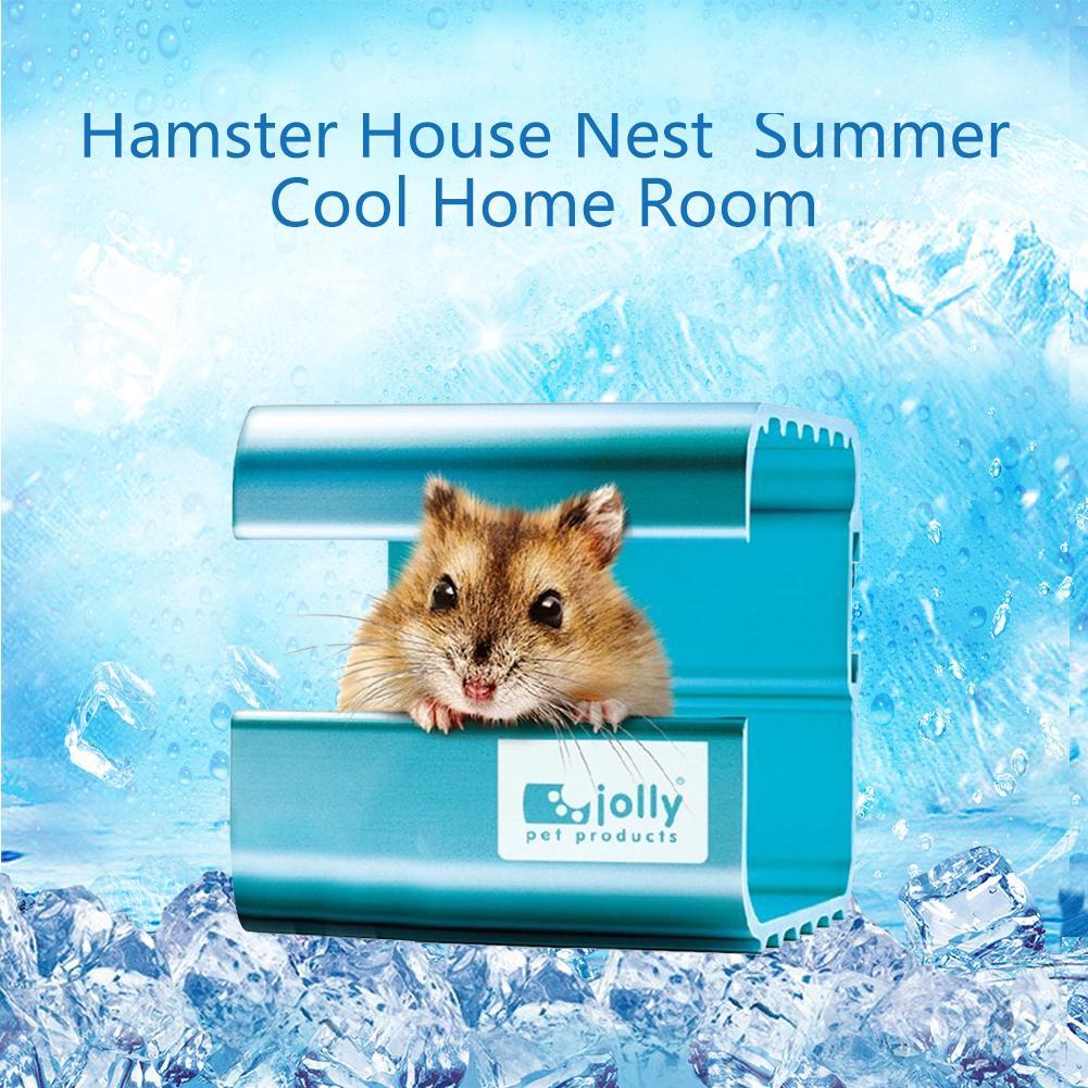 Casa de refrigeración de verano para mascotas jaula para hámster aleación de aluminio absorción de calor habitación nido Chinchilla mascota hámster cama de refrigeración