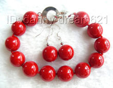 ****** Onderful 14mm roja ronda sur seashell perlas pulsera pendientes a039