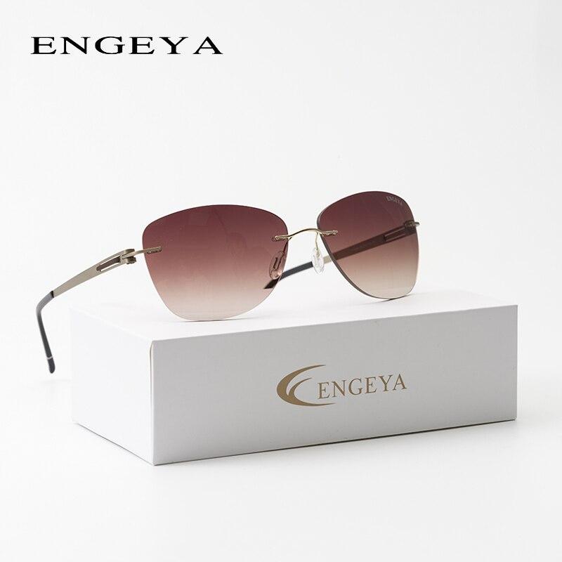2018 ENGEYA nueva moda Super ligera de Acero Inoxidable marca diseñador gafas de sol sin montura mujeres gafas de sol de conducción UV400 T11006