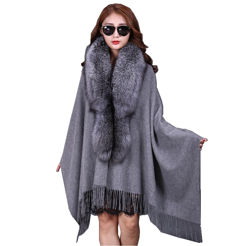 سيدة أزياء الخريف الشتاء الصوف الأغطية مع شرابات الثعلب الفراء طوق النساء الفراء الباشمينا شال الرقبة خواتم LF5007