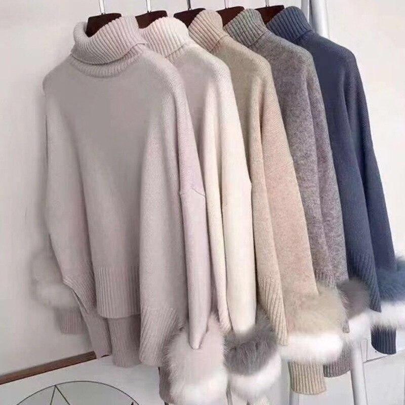 Sweet Turtleneck Faux Mink Fur Spliced Long Sleeved Sweater Knitted Shirts Imitation Fur Striped Pullovers Irregular Hem Tops