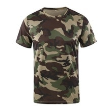 Yeni kamuflaj T-shirt erkekler nefes ordu taktik savaş T gömlek askeri kuru Camo kamp Tees