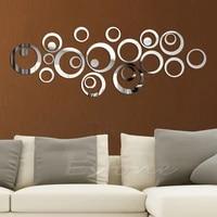 Cercles de mode Style miroir amovible  autocollant mural dart en vinyle  decoration de maison