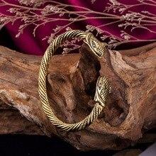 Skyrim métal tête de Serpent ouvert Bracelets & Bracelets Viking indien bijoux accessoires religieux Serpent homme Bracelet