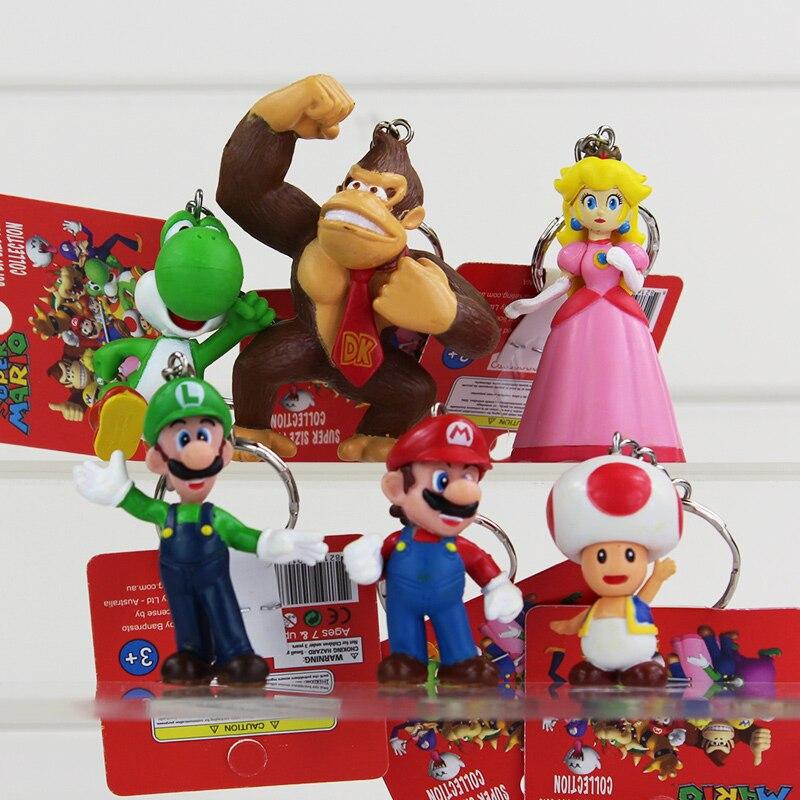 2016 Super Mario figura juguetes Donkey Kong Luigi seta de sapo princesa Yoshi llaveros para niños regalos para bebé