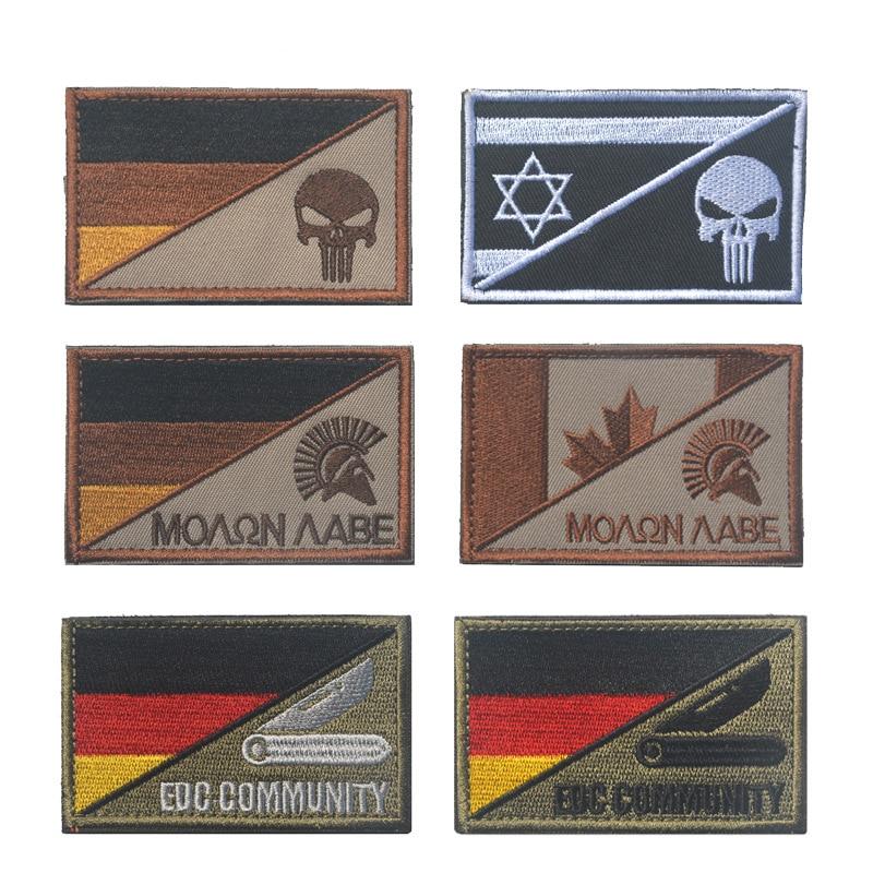 Bordado alemanha israel canadá bandeira e punisher spartan remendo insignia pano afixado emblema tático militar remendos moral
