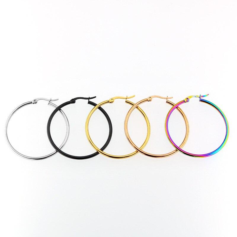 Pendientes de acero inoxidable para mujer, pendientes de acero titanio, joyería de moda, regalo de varios tamaños para novia 2018
