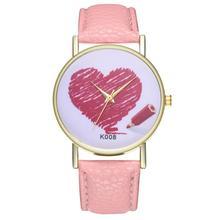Heart womens quartz watch Fashionable Temperament hard clock 2018 Beautiful Simple Business Women Ladies WristWatch #D