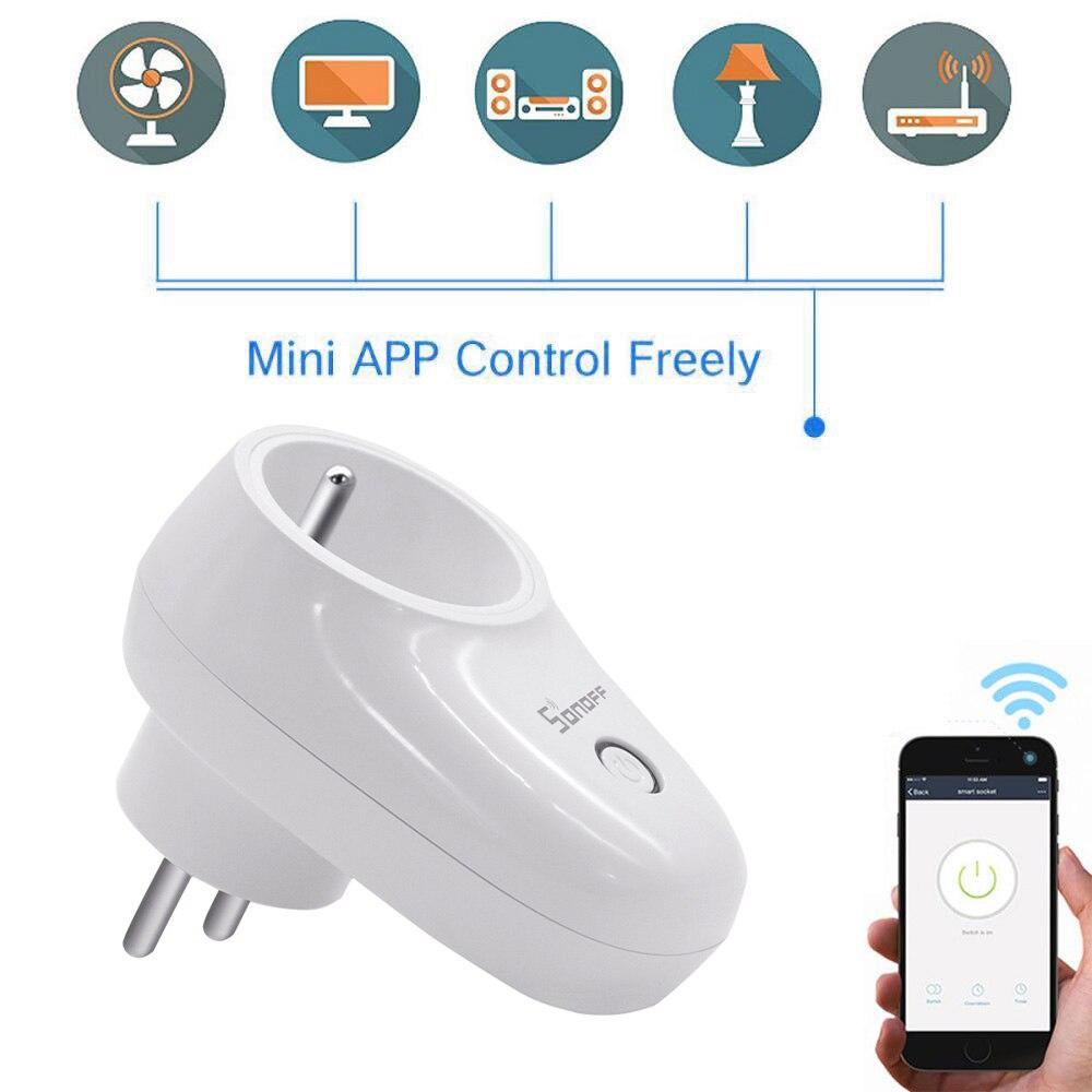 Sonoff S26 IFTTT WIFI inteligente del zócalo inalámbrico macho remoto US/EU/AU/Reino Unido de casa inteligente cambiar de trabajo con Alexa Asistente de Google