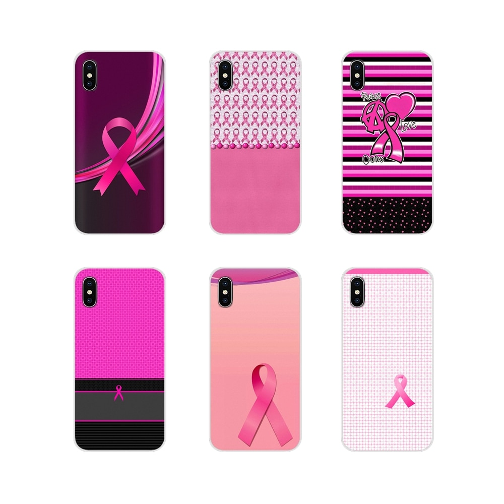 TPU Transparent Cover Bag Girly Breast Cancer pink Ribbon For Samsung Galaxy S4 S5 MINI S6 S7 edge S8 S9 S10 Plus Note 3 4 5 8 9