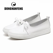 DONGNANFENG femmes étudiants Gril femme en cuir véritable blanc chaussures plates plate-forme à lacets coréen décontracté vulcanisé chaussures fès-173