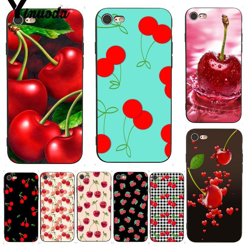 Yinuoda para iphone 7 6 X verde cereza de cereza estuche multicolor para teléfono para iphone 7X6 6S 8 Plus XS XR SE XS XR