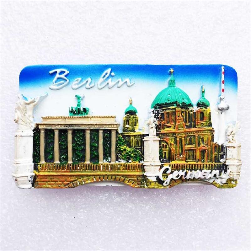 Calcomanía para refrigerador Alemania creativa paisaje de la catedral de Berlín imanes decoración del hogar regalos al por mayor triangulación de envío