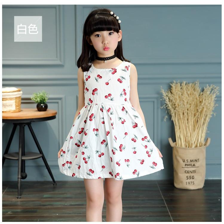 Elegante vestidos de niñas 2018 de princesa de verano ropa de los niños de limón Estampado de cereza vestido para niñas ropa de bebé 4 5 6 7 8 9 10 12Y