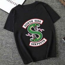 Riverdale lato kobiety czarny T-shirt Riverdale T koszula Plus rozmiar South Side węże Tshirt Jughead moda Vintage bluzka harajuku