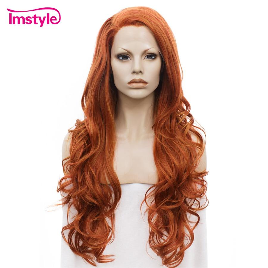 Pelucas naranjas largo ondulado Imstyle Auburn pelucas sintéticas con encaje frontal para mujeres Peluca de señora sin pegamento de fibra resistente al calor