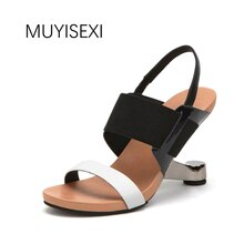 High Heel Sandalen Frauen Schuhe Aus Echtem Leder Gemischt Farbe Offene spitze Seltsame Heel Fretwork Sommer Frauen Sandalen HL37 MUYISEXI