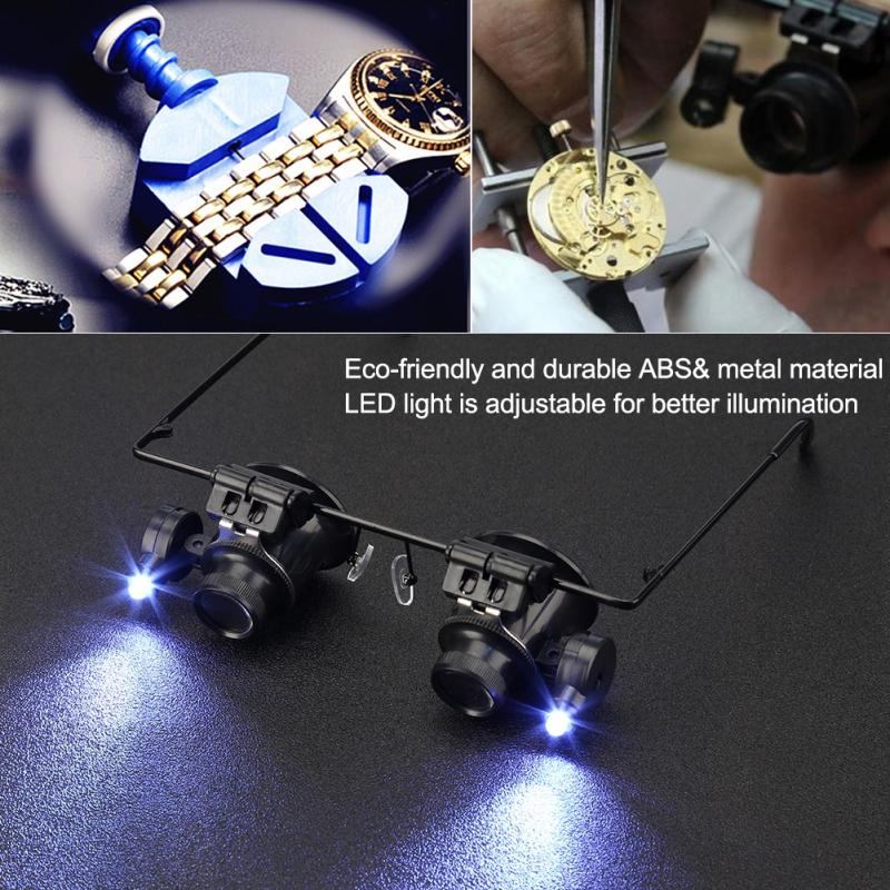 20X lupa con luces Led lupa para reparación de relojes casco lupa Binocular herramienta de reparación de joyas